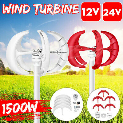1500W 12V/24V Lanterns 5 Blades Wind Turbine Generators Vertical Axis+Controller