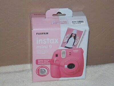 New Fujifilm Instax Mini 9 Flamingo Pink Instant Camera With Selfie Mirror