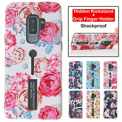 For Samsung Galaxy A8A8+ S9 Plus Note9 Rose Flowers Print Finger Hold Stand Case