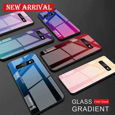 For Samsung Galaxy S10 S9 S8 Plus Gradient Glass Hybrid Hard Back Case Cover