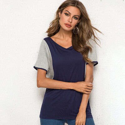 Fashion Women Contrast Color Round Neck T-shirt Loose Bat Short Sleeve Tops H