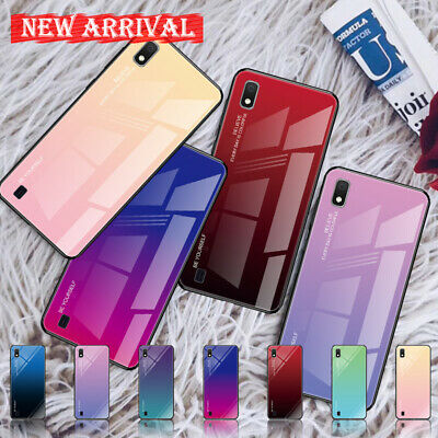 For Samsung Galaxy A20 A30 A50 A5 Note 9 J8 Gradient Glass Hybrid Hard Case
