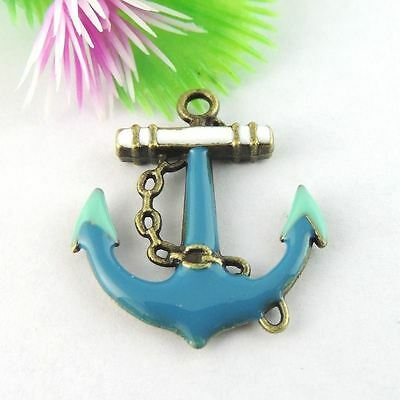 12 pcs Vintage Style Bronze Alloy Blue Enamel Anchor Pendant Charm 30x26x3mm
