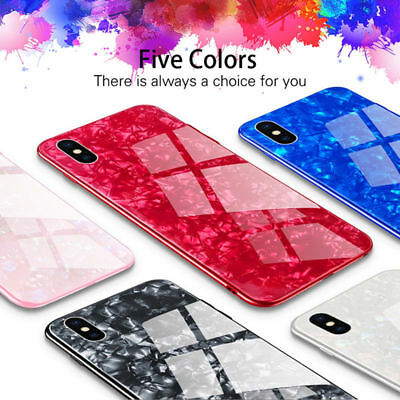 For iPhone X XS MAX XR 8 7 Plus Luxury Shockproof Tempered Glass Back Case Cover