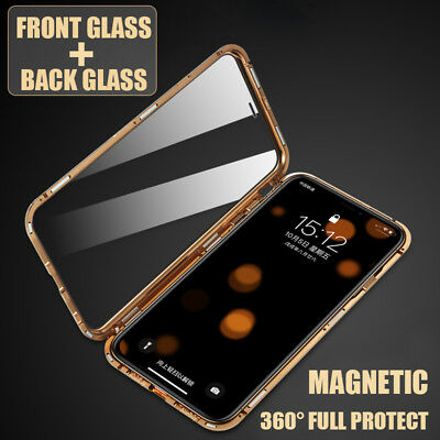For iPhone XS Max XR X 8 7Plus  Front+Back Temper Magnetic Glass Case Cover