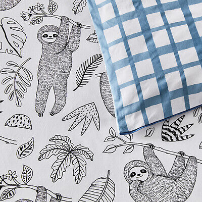 ADAIRS KIDS Smiley Sloth COT (Jnr Bed) QUILT COVER SET BNIP black white jungle