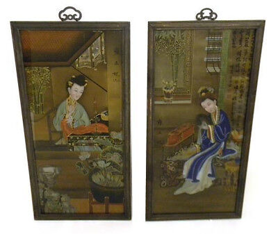 Antique Pair Chinese Eglomise Panels Wives Of Yongzheng Emperor Mid-Qing Dynasty