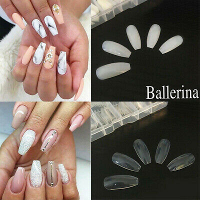 500x Long Coffin Oval False Nails Press On Full Cover Fake Clear Natural Tips UK