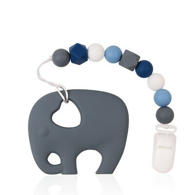 Baby Pacifier Chain Clip Silicone Teether Teething Toy Beads Soother Elephent