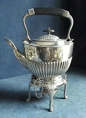 """SUPERB Large 13"""" ~ SILVER Plated ~ FLUTED Spirit KETTLE on Stand ~ c1890"""
