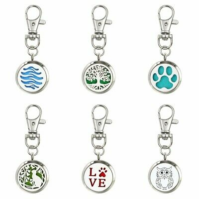 30mm Aroma Pendant 316L Steel Essential Oil Diffuser Locket Keychain Necklace