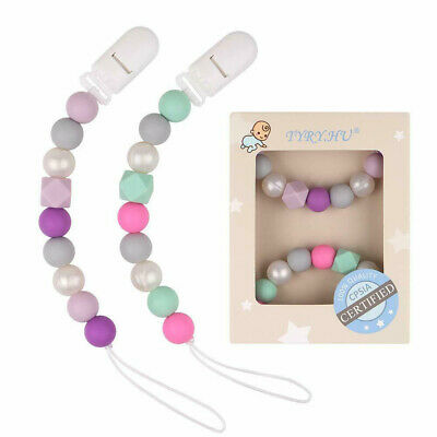 Baby Pacifier Chain Silicone Beads Teething Soother Teether Nipple Chewable 2PC