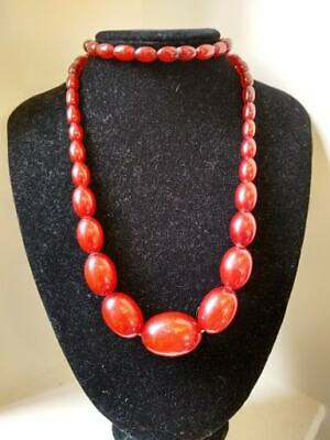 Antique Art Deco Cherry Red Amber Bakelite Faturan Beads Necklace 63 Gms