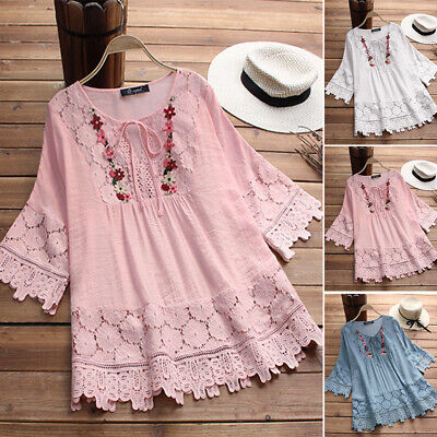 Women Plus Size Loose Baggy Crochet Lace Blouse Tee T Shirt Pullover Floral Top