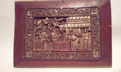Antique Chinese Lacquered Gilt Wood Panel Relief Carved Qing
