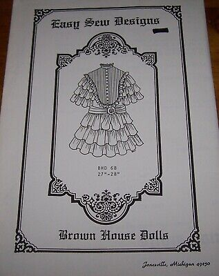 """Pattern For Antique Or Reproduction Doll - 27""""-28"""" - Bhd 68"""