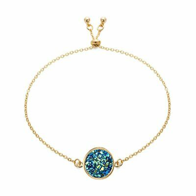 Women Gold Plated Round Crystal Slider Bracelet Adjustable Chain Bangle Jewelry