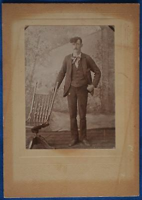 Antique Photo Man Full Portrait Long Bangs Rocking Chair Early 1900s