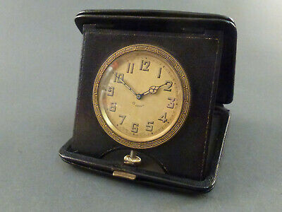 Black Leather Cased Art Deco Travelling 8 Day Clock