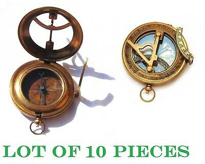 Lot of 10 Nautical Antique Brass Marine Stanley London Pocket Sundial Compass