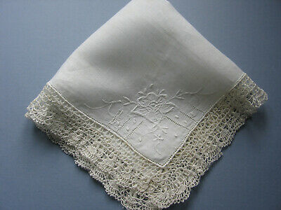 "Edwardian Lawn Cotton Large Handkerchief Hand Embroidery & Crochet Lace 15""  Sq."