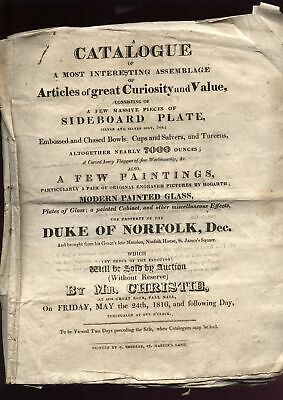 RARE 1816 DUKE of NORFOLK Christies Sale Catalogue, with prices, Henry Howards.