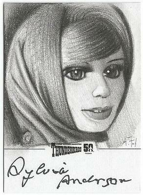 Thunderbirds 50 Years Sketch Card by Andy Fry signed by Sylvia Anderson