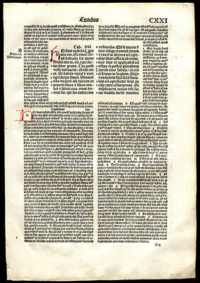 522 Yr Old Incunable Bible Leaf Lot (11)  Exodus 21 Slavery Indentured Servitude