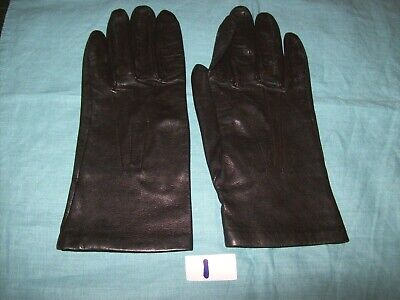 Pair of Lady's Vintage Brown Leather Gloves with Silk Linings by 'JAEGER' .(1)