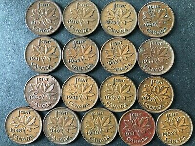 Lot of 17: Complete sequence of 1937 - 1952 Canada 1 cent copper penny coins