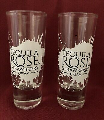 "2x Tequila Rose Strawberry Cream Shot Glasses 2 oz  4.25"" Tall"