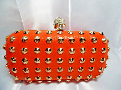 Cross Body purse gold metal studs skull head closure chain handle orange Goth