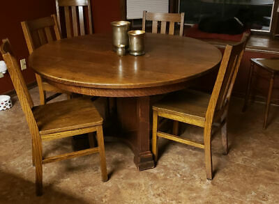 Antique Round Oak Dining Table 54 Diameter 1 Thick Top Limbert