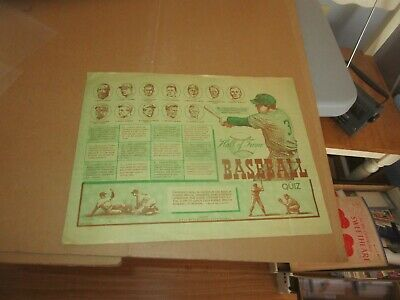 Vintage Baseball Hall Of Fame C. 1950's Placemat Babe Ruth Batting