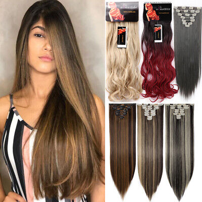 ON CLEARANCE Premium Clip in Thick Hair Extensions Full Head Long as Real Human