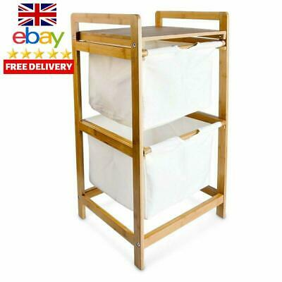 Laundry Storage Bin Bamboo With 2 Drawers Cabinet Hamper Basket Washing Clothes