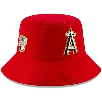 newest 00c09 5d6cf Los Angeles Angels New Era 2019 Stars   Stripes 4th of July Bucket Hat - Red