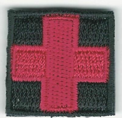 """1"""" Red Black Medic Red Cross Patch VELCRO® BRAND Hook side only"""