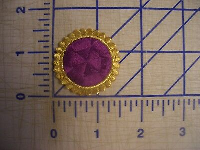 L Purple Dot Metallic Gold Outline Iron On Patch Embroidery Applique EDC NPC IFB