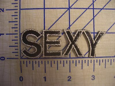 "2.5""Block Letter Word ""SEXY"" Iron On Patch Sew GlueOn Embroider Silver Metallic"
