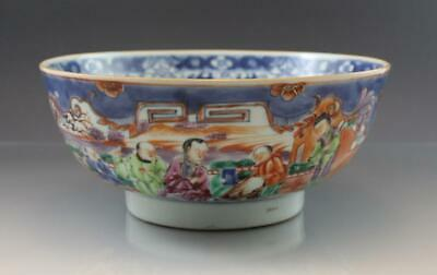 19C Chinese Export Blue & White Canton Porcelain Center Bowl w/ Figural Scenes