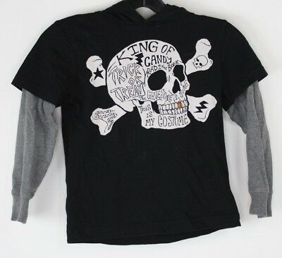 Gymboree Boys Pirate Skull and Crossbones Layered Hoodie T-Shirt Sz 6 Halloween