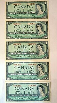 1954 Canadian 1$ Bank Notes - bills  6 in sequence