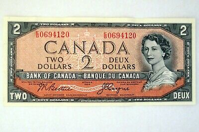 1954 Canadian 2$ bank note with the Devil's Face - Beattie / Coyne