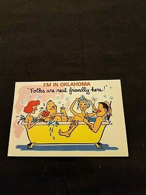 Im in Oklahoma Folks are Real Friendly Here People Bathing Together Old Postcard