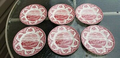 6 Johnson Bros Old Britain Castles Pink Red Salad Plates - Green Mark