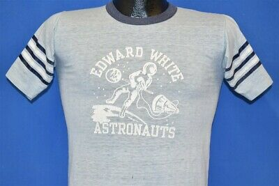 vtg 80s EDWARD WHITE ASTRONAUTS OUTER SPACE TRAVEL DISTRESSED t-shirt YOUTH L