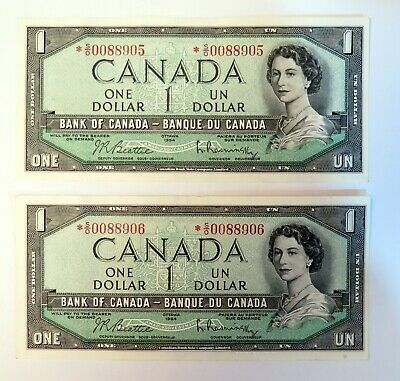 1954 Canadian 1$ sequential - UNC condition - low serial number - replacement