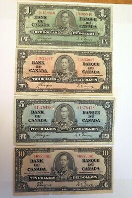 1937 Canadian bank note set  1$ - $2 - $5 - $10