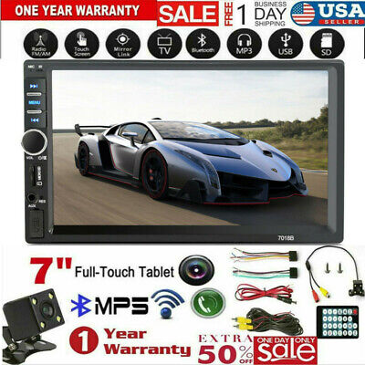 "7"" DOUBLE DIN Car MP5 Player BT Touch Screen Stereo Radio HD+Rear Camera Kit"